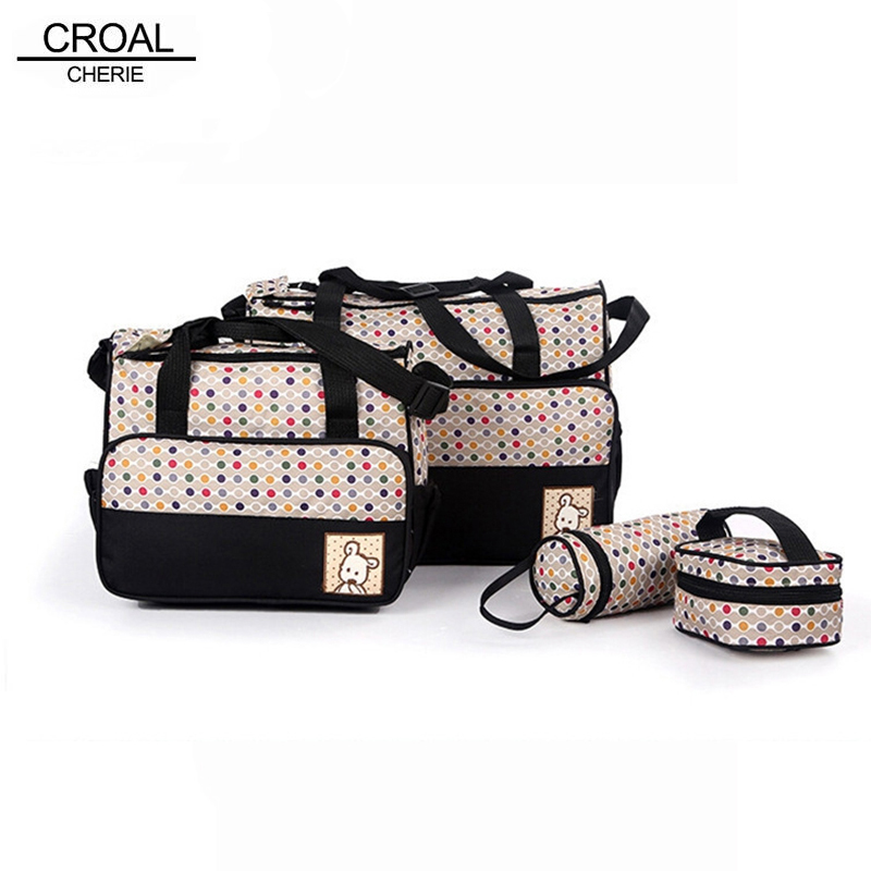 4PCS Suits Mother Baby Bags Multifunctional Nappy Diaper Women Messenger Bags Mummy Food Dot Stroller Maternity