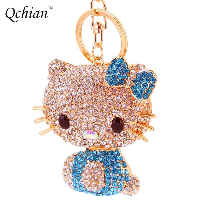 Fashion Crystal Small Hello Kitty Cat Car Keychain Girls Keychain Quality Alloy With Rhinestone Gift Key