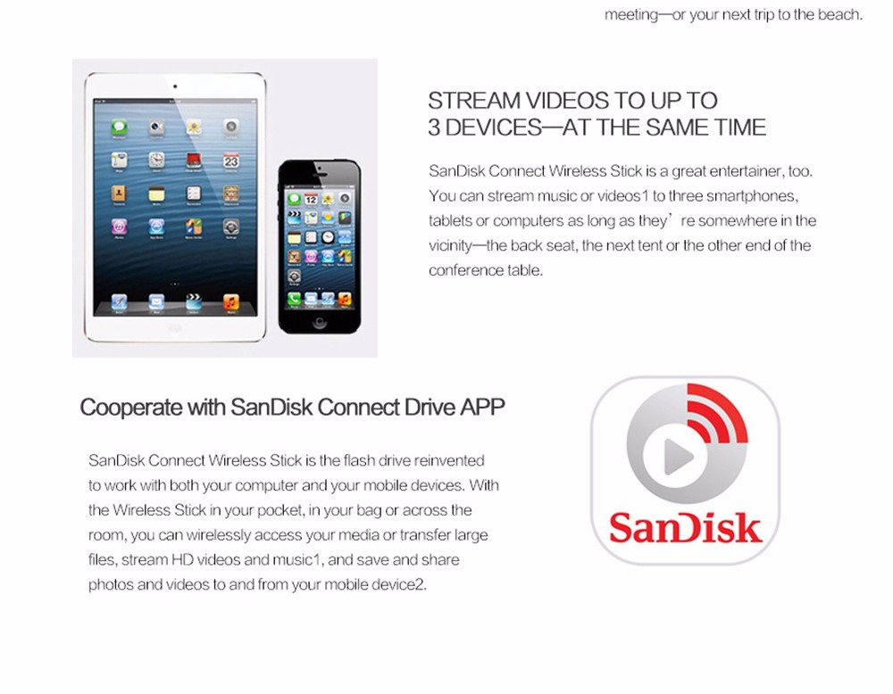SANDISK Connect Wireless Stick 32GB 32G Wireless Flash Drive for Smartphones