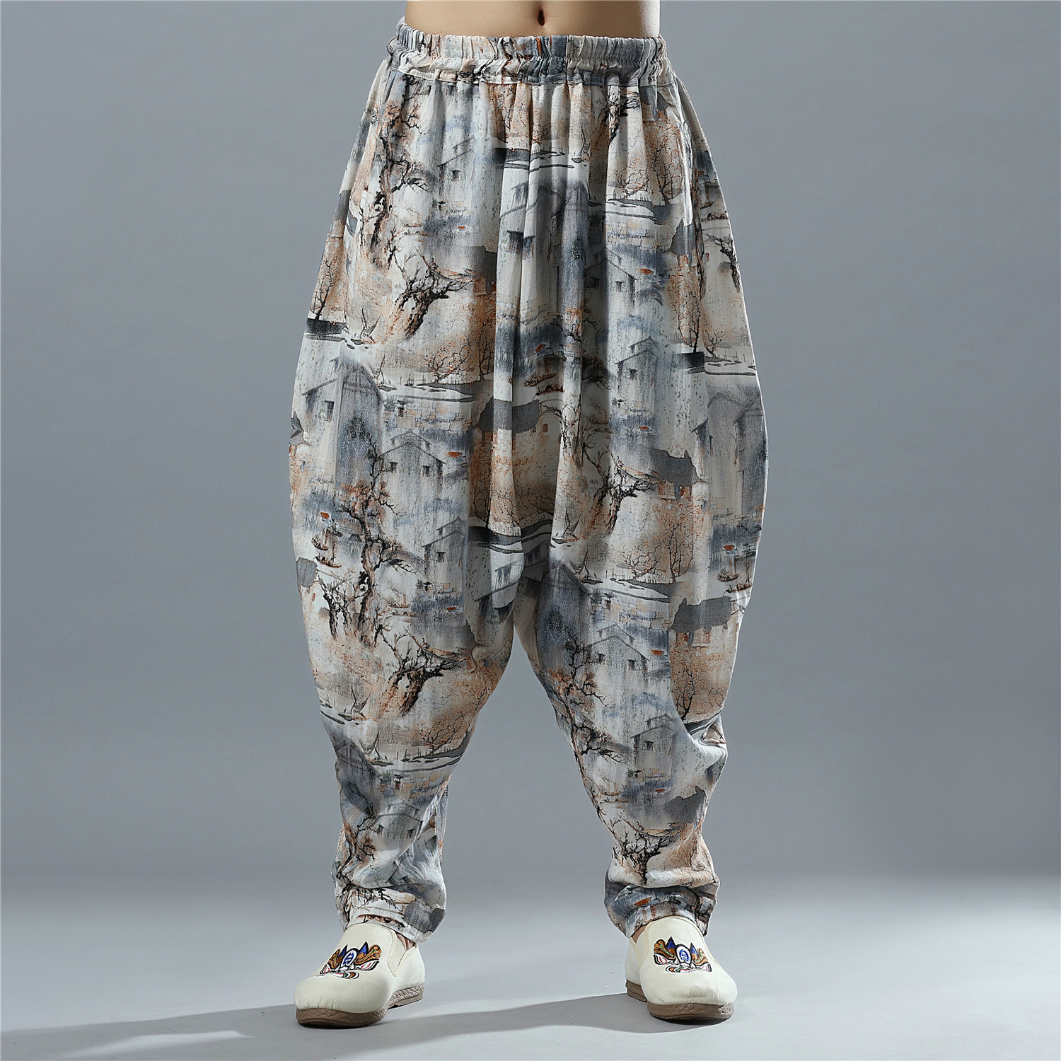 Men's Loose Casual Pants China Style Male High Quality Cotton Linen Printing Wide Leg Harem Pants Jogger Trousers Sweatpants