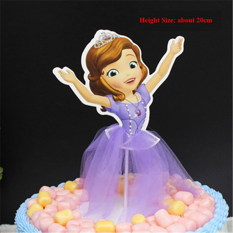 Party Girl Cake Decoration Cupcake Toppers Rapunzel Cinderella Snow Whie Sofia Princess Girls Birthday Topper Flags In Decorating Supplies