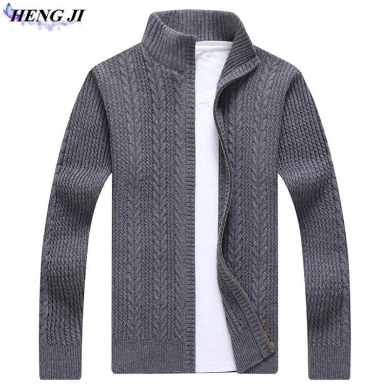 HENG JI 2017 new winter font b men s b font long sleeved knit cardigan font