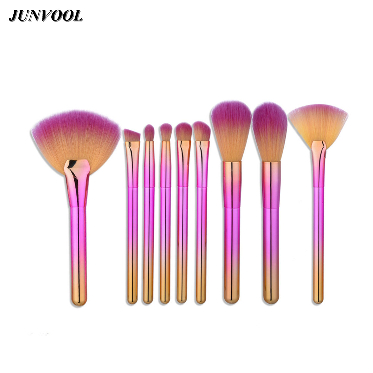 9pcs Pink Foundation Brush Set Soft Synthetic Hair Professional Make Up Tools High Quality  Fan Powder Makeup Brushes Kit Newest professional 10 pcs soft synthetic hair make up tools kit cosmetic beauty makeup foundation brush beige sets 30