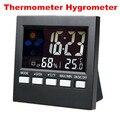 Colorido LCD Termômetro Higrômetro temperatura medidor de umidade Tester Relógio estação meteorológica Previsão do tempo Calendário Alarme