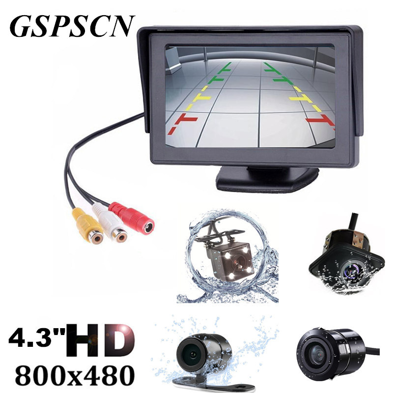 Car Rear View Camera 170 Wide Angle HD CCD 4 LED Night Vision 2 in1 TFT 4.3 Inch Auto TFT LCD Rearview Parking 4.3inch Monitor car hd video auto parking monitor led night vision reversing ccd car rear view camera with 4 3 inch car rearview mirror monitor