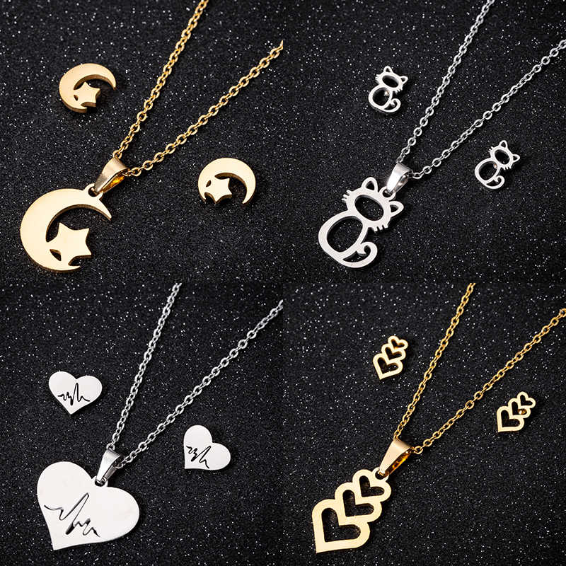 Jisensp Stainless Steel Jewelry Sets Star Moon Earrings for Women Cartoon Animal Cat Necklace Pendant Wedding Jewelry Gift