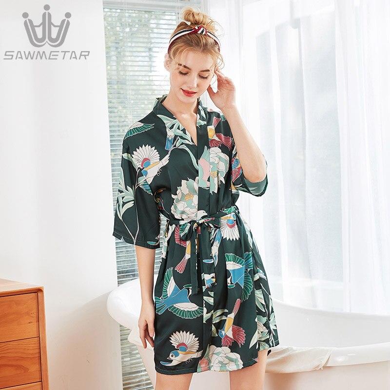 46724706 Batas de seda satén pijamas florales Kimono boda novia media manga bata  dama de honor Sexy verano ...