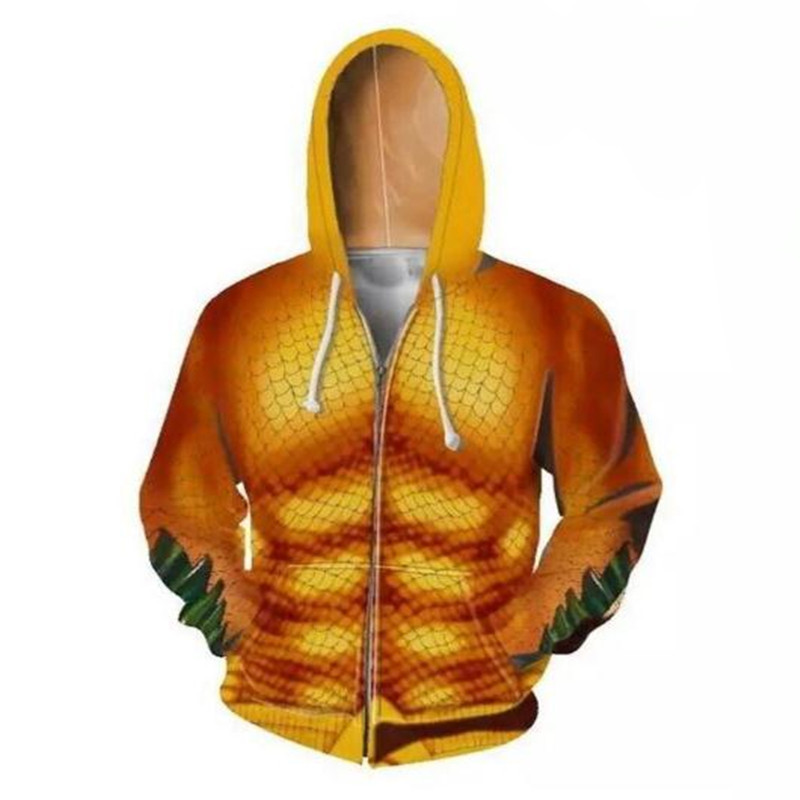 Movie Aquaman Cosplay Costume 3D Anime Lovers Zipper Hoodie Sweatshirt Jacket Suit Christmas Party Halloween Costume For Men