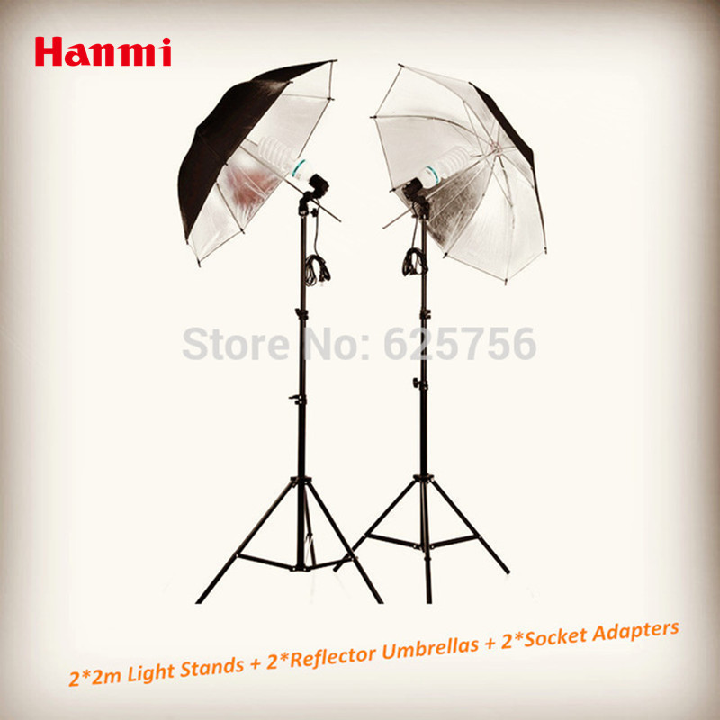 Photographic Equipment Clothing Shoot Photography Set 2 2m Light Stands 2 Reflector Umbrellas 2 Socket Adapters