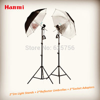 Free Shipping Photographic Equipment Clothing Shoot Photography Set 2 2m Light Stands 2 Reflector Umbrellas 2