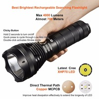 LUMINTOP Brightest Rechargeable Searching Flashlight SD75 4000 Lumens With Cree XHP70 LED Max 652m Waterproof IPX