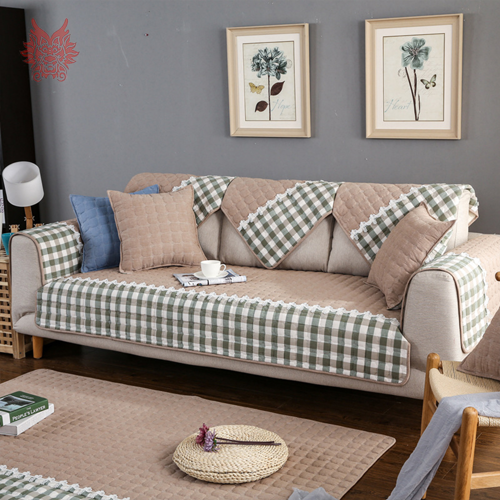Home & Garden Contemplative Pastoral Khaki Pink Plaid Sofa Cover Pure Cotton Quilting Sectional Slipcovers Lace Fundas De Sofa Couch Furniture Covers Sp4336
