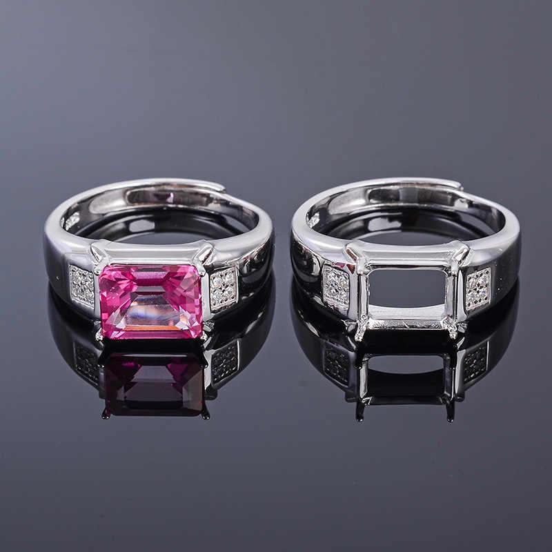 MeiBaPJ 7*9 prawdziwe naturalne różowy Topaz kamień mężczyźni pierścień lub puste pierścień wsparcie prawdziwe 925 Sterling Silver Fine biżuteria ślubna