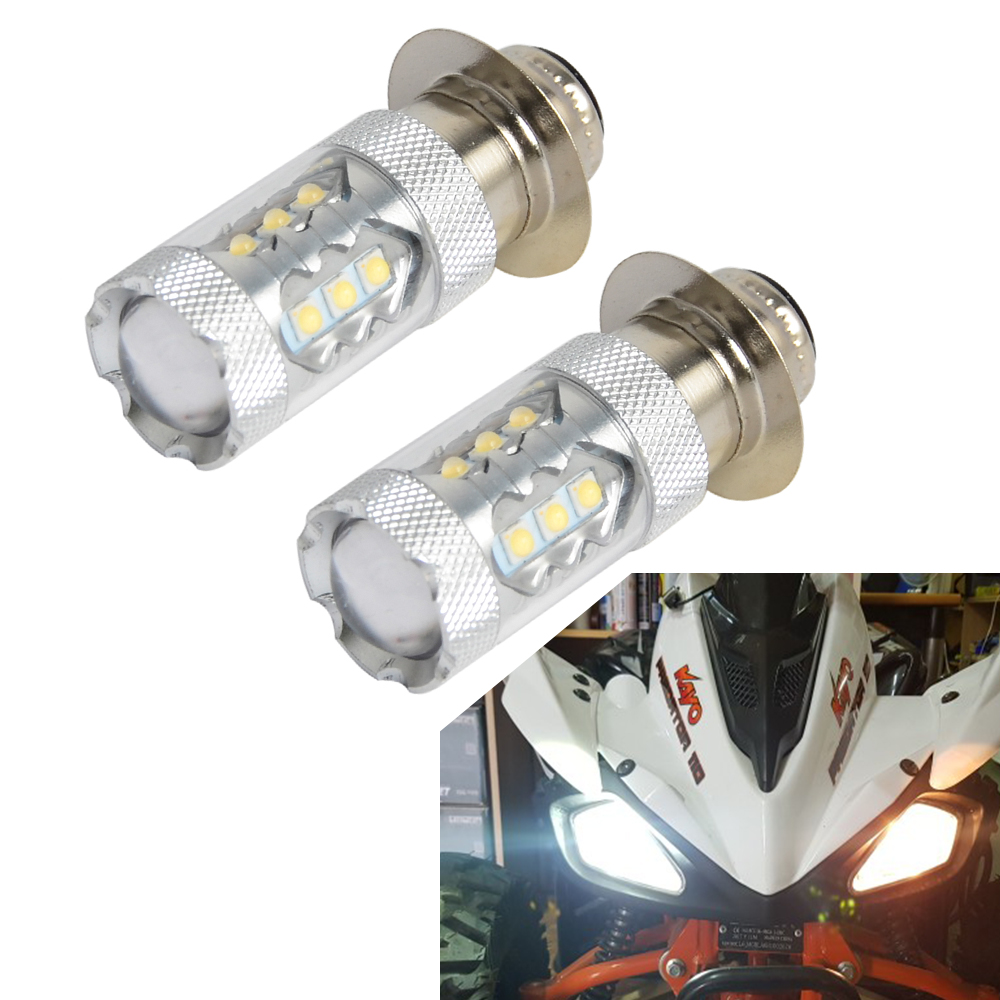 2PCS 80W Super White LED Headlight Bulbs Upgrade For Yamaha ATVS YFM350 400 450 660 700 Raptor Blaster 200 Banshee 350 ATV Luces
