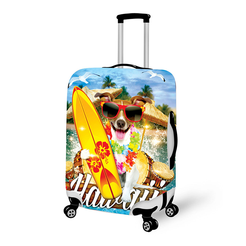 3D Dog Print Travel Luggage Suitcase Protective Cover Stretch Waterproof Portable Luggage Covers Rain Cover W