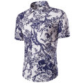 Chinese Style Linen Fashion Floral Mens Shirts Short sleeve Slim Fit Casual Social Camisas Masculinas for Man Chemise homme