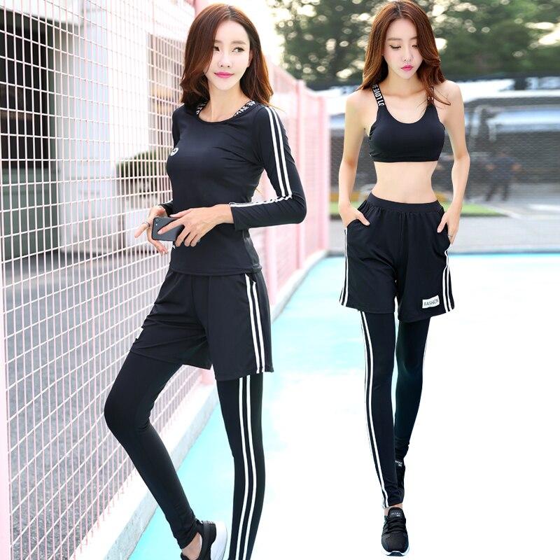 Nouveau Femmes De Yoga Ensemble Respirant Noir Col Rond Shrits + Sport Soutien Gorge + Pantalon + Shorts 4 pcs Sport Costume fitness Gym Jogging Vêtements - 2