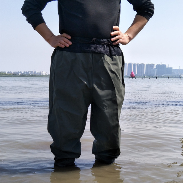 Army Green 110cm Waist Breathable Mesh Fishing Waders Thickning Waterproof One-Piece Suits PVC Boots Soft Soles Fishing Waders