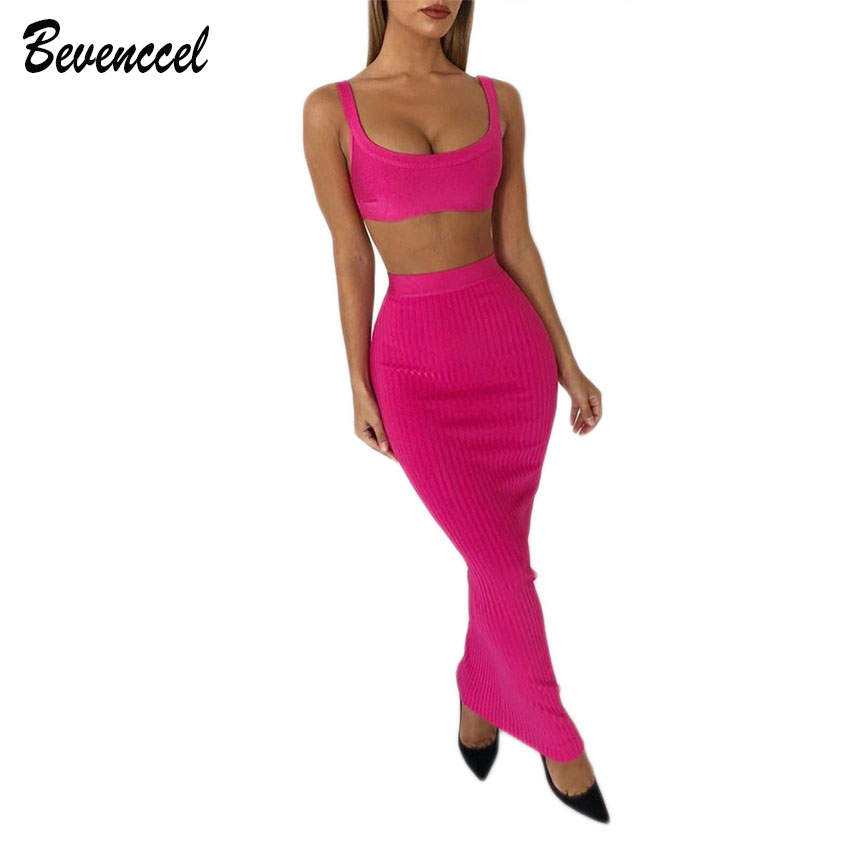 New Chic Winter Sexy Bandage Dress Vestidos Verano 2019 Straps O Neck Two Piece Sets Bodycon Party Dress Elegant Women Dress
