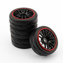 4PCS Rubber RC Racing Tires Car with Rim Fit For HSP HPI 9068-6081 1/10