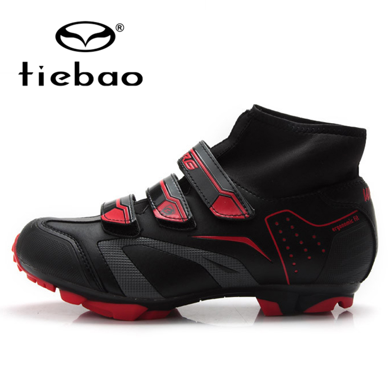 TIEBAO Professional Men Women MTB Bicycle Cycling Shoes Winter Windproof Self-Locking High Ankle Boots Mountain Bike Racing Shoe