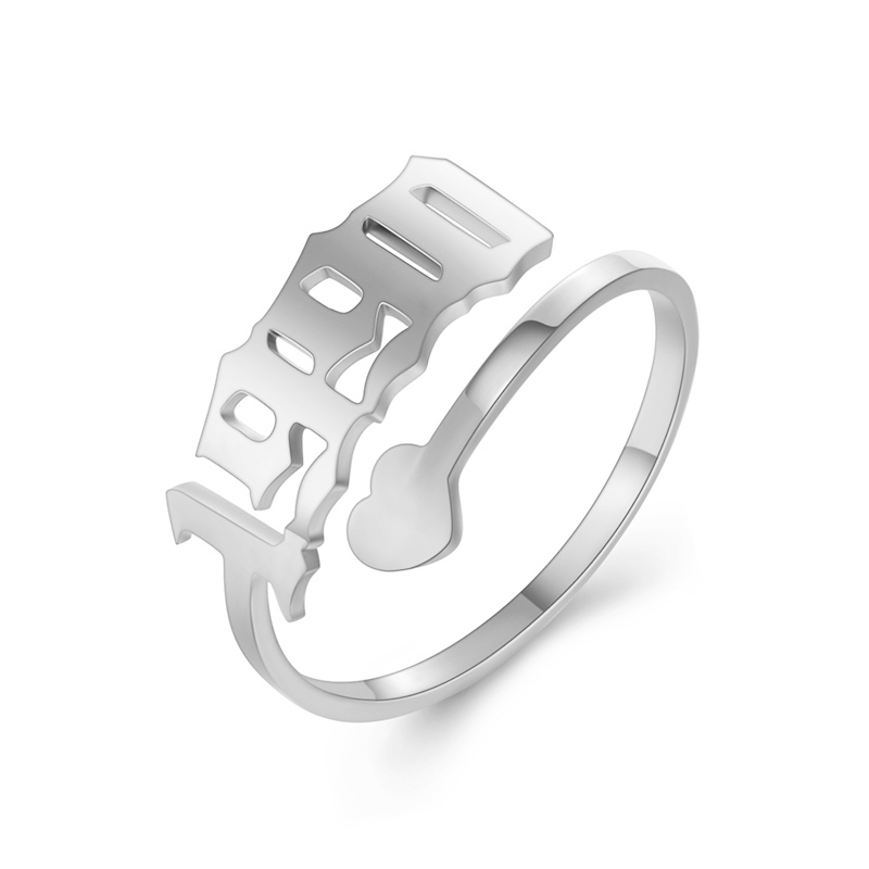 Initial Year Number Ring Stainless Steel Rings For Women Men Anniversary Adjustable Wedding Bands 1990 2000 Birthday Year Ring in Rings from Jewelry Accessories
