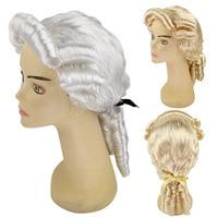 Men's Colonial Wig 18th Century Gentlemen Court Costume Retro Rococo Curly Ponytail Wig Halloween Fancy Dress Accessories