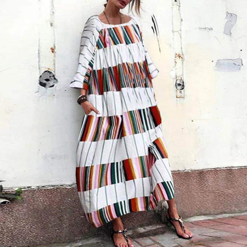 2018 Autumn Women Striped Dress Sexy V Neck Long Sleeve Maxi Long Dresses Vintage Casual Loose Plus Size Vestidos