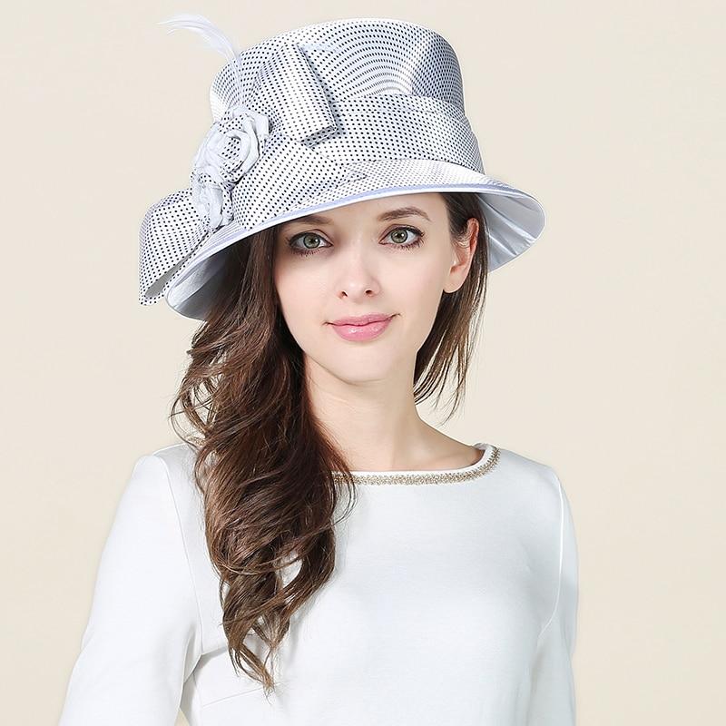 39a9b9fc53d77 Women White Fecoras Hat Girls Sinamay Kentucky Derby Hats Linen Wedding  Dress Hats Elegant Ladies Wide