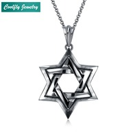 Punk Stainless Steel Pentagram Star Pendant Necklaces For Men Retro Viking Antique Silver Plated Soldier Jewelry