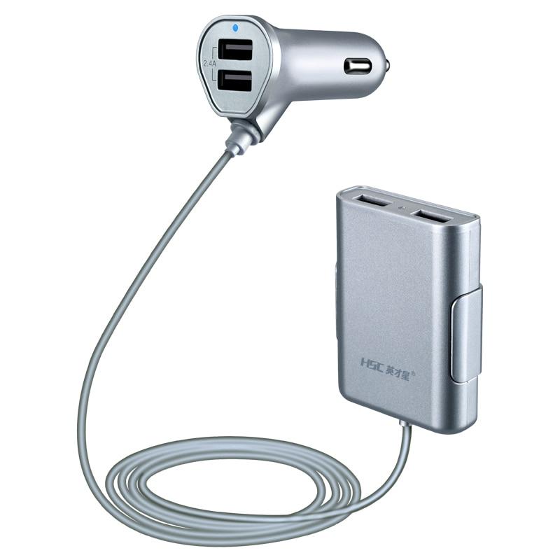 12-24V Выходное автомобильное зарядное устройство Выключатель напряжения Быстрая зарядка передняя/задняя USB Зажигалка автомобильный прикуриватель для iPad iPhone& Tablet - Название цвета: HSC600SilverGray