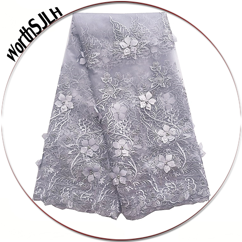 Grey Nigerian Tulle Lace Fabric Purple Teal Green Swiss Beads 3D African French Lace Fabric High