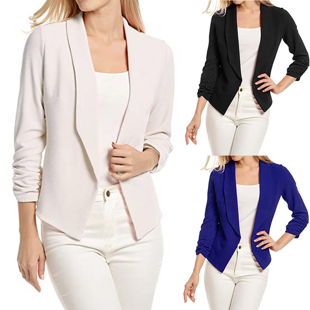 Women Blazers Jackets Outwear Cardigan-Suit Short Office-Coat Work Open-Front 3/4-Sleeve