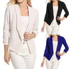 Women Blazers and Jackets 3/4 Sleeve Blazer Open Front Short Cardigan Suit Jacket Work Office Coat Outwear blouson W510