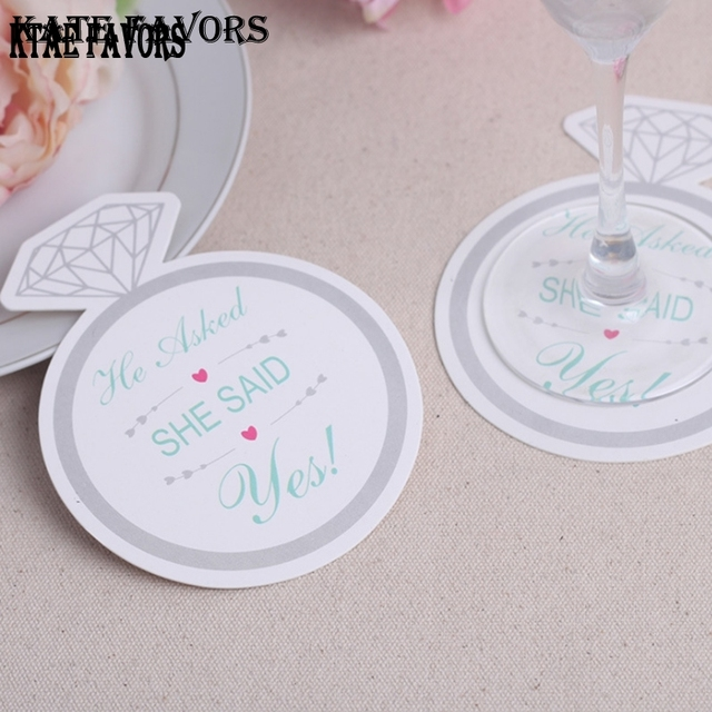12pcs Diamond Ring Round Paper Coaster Wedding Favors Gifts Cup