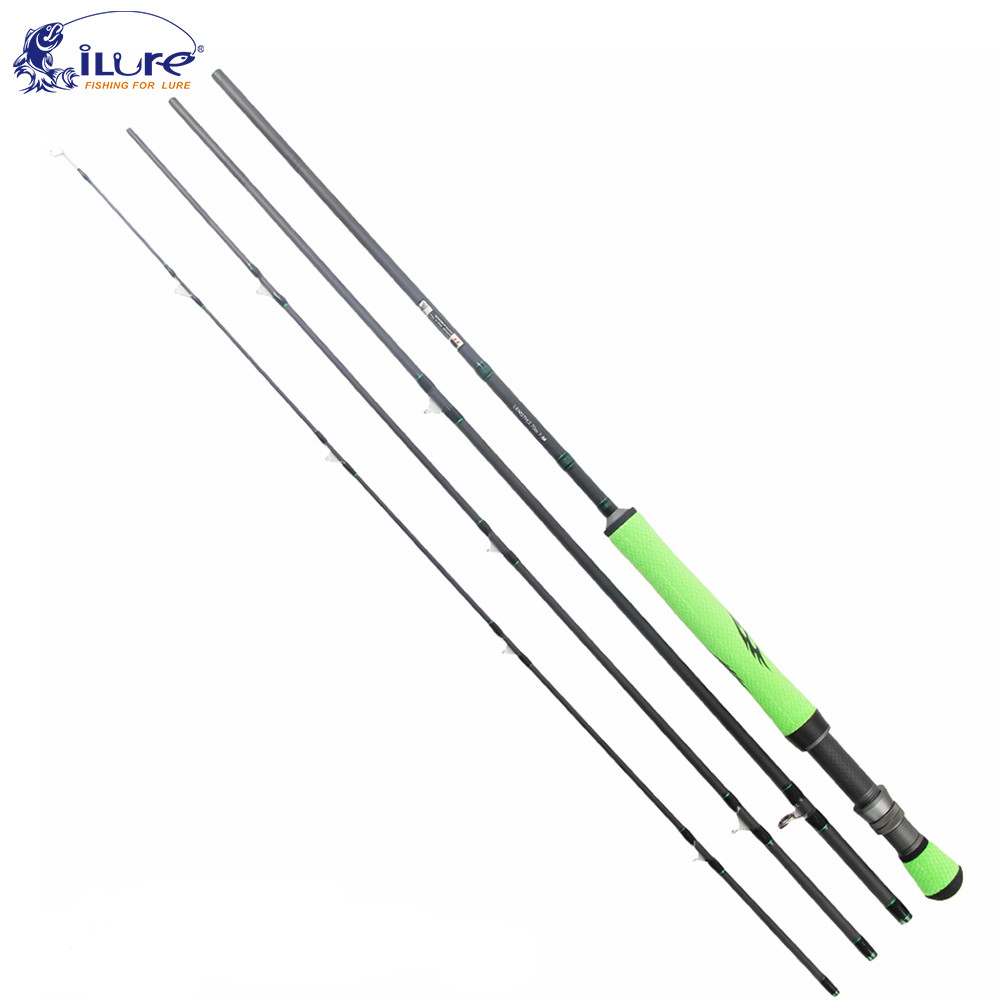 ilure Fly Fishing Rod 5 6#/7 8# 2.28m/2.7m Fast Action 4Sections Lure Rods Spinning Rod Fishing Tackle Canne A Peche Olta Feeder