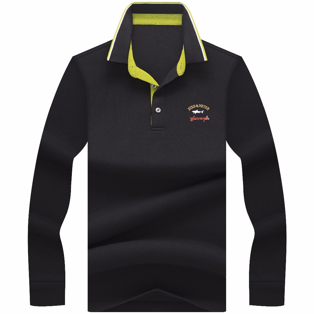 Milinsus Business   Polo   Shirt Men Brand Shark print shirt Cotton Long Sleeve Camisas Casual Male   Polo   Tee Shirt Tops New 2019