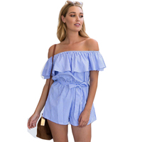 Women Fashion Summer Ruffles Off Shoulder Striped Sexy Rompers Womens Jumpsuit Short For Women Shorts 2017