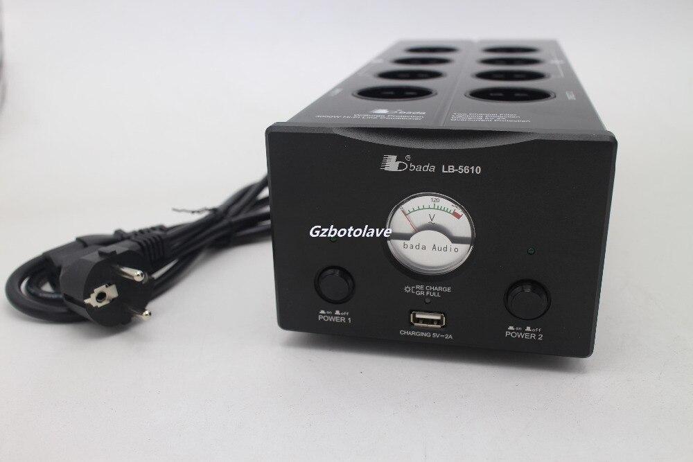Dernière Bada LB 5610 prise EU 2 canaux Audiophile filtre de puissance prise Schuko avec USB 5V charge VU mètre montré AC110V 240 V - 3