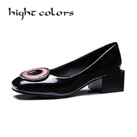 Fashion Japanned Leather Round Buckle Elegant Gentlewomen Shoes Thick Block Med Heel Formal Work Court Shoes For Women Pumps