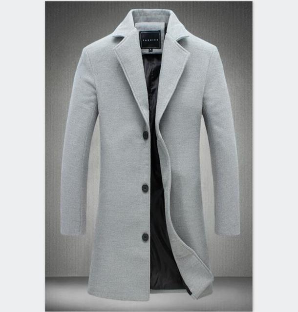 Mens  Autumn Winter Wool&Blends Mens Solid Color Casual Business Trench High-end Brand Slim Long Section OverCoat Male Jacket