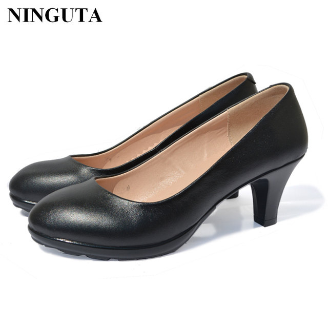 Genuine Leather women dress shoes pumps comfortable work shoes-in ... 25936c90d3