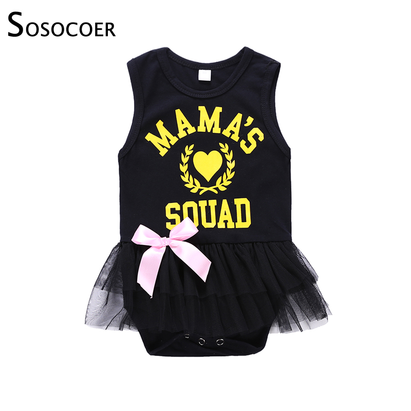 SOSOCOER Baby Girl Clothes New born Baby Girl Romper Summer Clothes Bodysuit Mamas Squad Gauze Black Infant Girls Jumpsuits