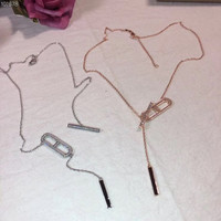 Famous Brand Pure 925 Sterling Silver Jewelry For Women Slide zircon Lock Neckalce Tassel Pendant Letter H Necklace Pendants