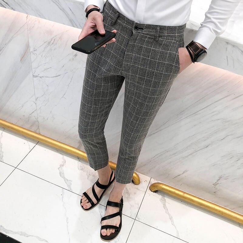 British Style Plaid Suit Pants Men Summer 2018 Slim Fit Casual Business Dress Work Pant Ankle Length Gentlemen Trousers Male 3XL