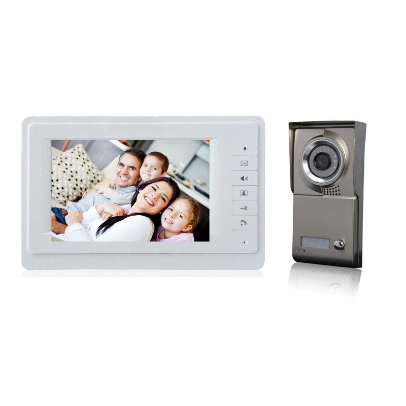 (1 Set) Free Shipping 7 Inch Colorful Display 600TVL Line HD One To One Video Door Phone Door Release System Acess Control