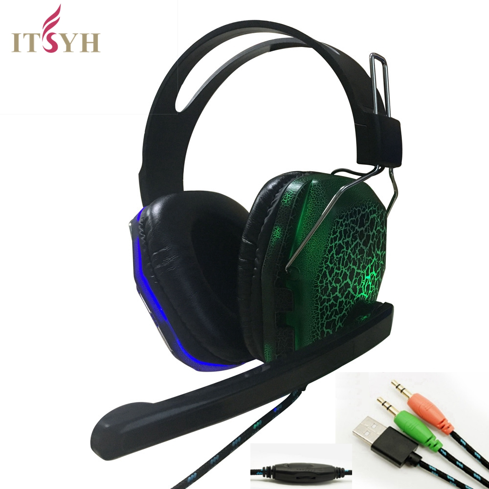 ITSYH Gaming Headphone Usb Led Light headset For Computer PC notebook Over Ear Game Headset Wired Headphone Mic 2.5m LF01-025 each g8200 gaming headphone 7 1 surround usb vibration game headset headband earphone with mic led light for fone pc gamer ps4