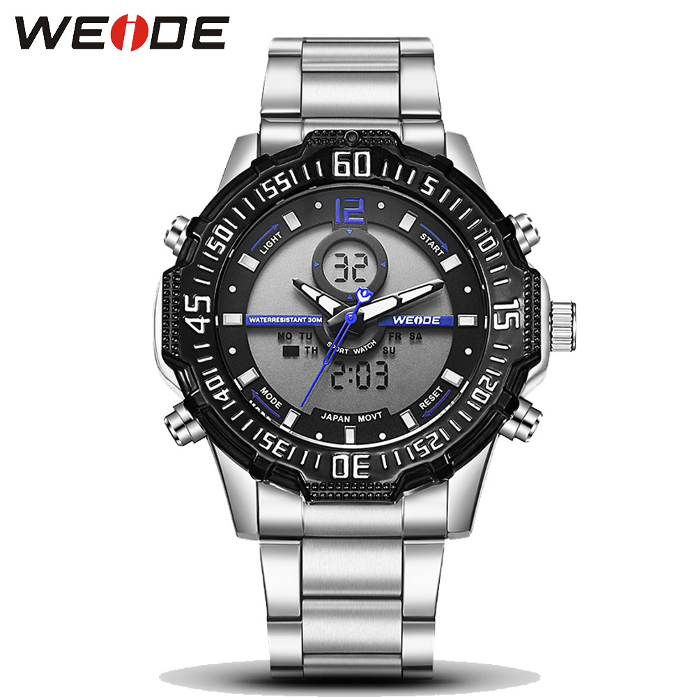 Weide Brand Luxury brand Full Steel Watch Men LED Sports Army Military Watches Men Quartz Analog Digital Watch relogio masculino weide irregular men military analog digital led watch 3atm water resistant stainless steel bracelet multifunction sports watches