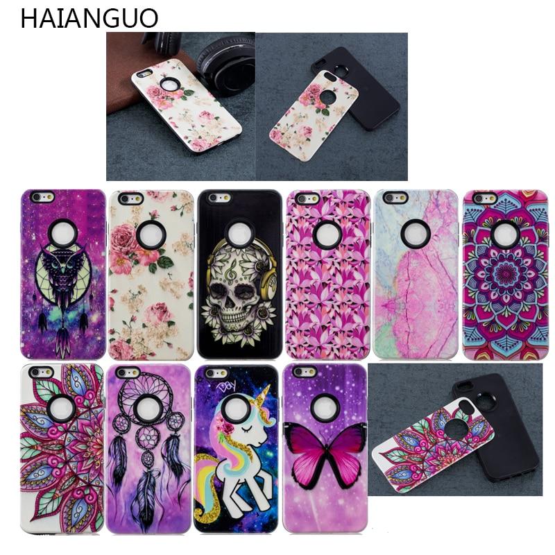 HAIAMGUO телефона чехол для iPhone X 8 7 6 6s плюс 5 5S 3D рельеф мультфильм цветочным узором 2 в 1 съемная крышка чехлы для iPhone 8