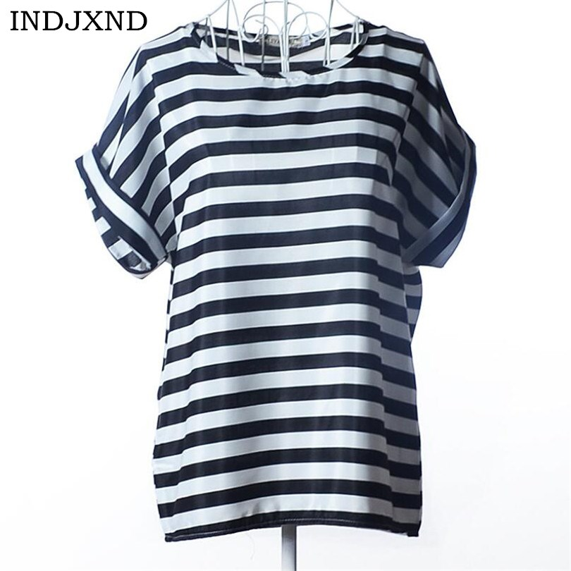 INDJXND Women Striped   Blouse     Shirt   Short Sleeve   Blouse   O-Neck Casual Tops Office Chiffon   Shirt   Casual Plus Size Blusas Femininas